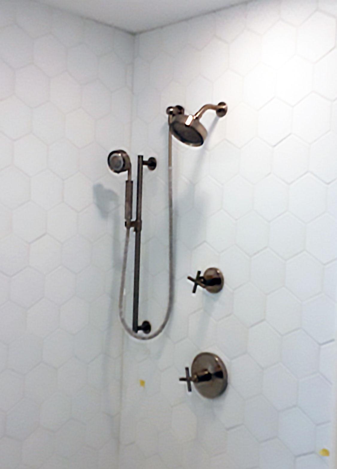 Double custom shower head installation
