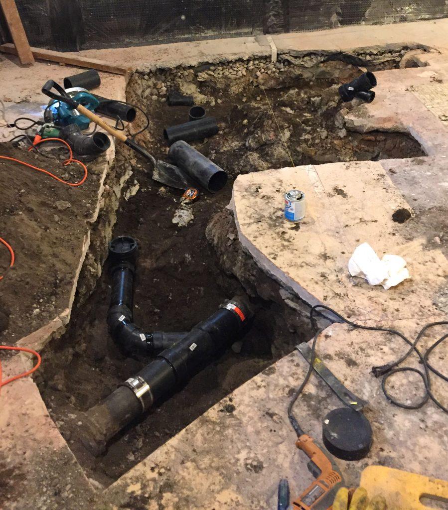 pipe installation, basement for bathroom